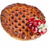 image of cherry pie  - Closeup cherry cake - JPG