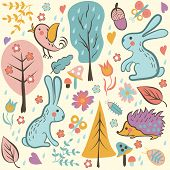 picture of hare  - Forest seamless pattern - JPG