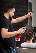 picture of cross-dresser  - Professional hairdresser man at work - JPG