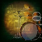 picture of drum-kit  - abstract green grunge music background with drum kit - JPG