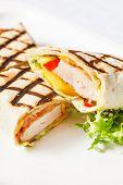 picture of sandwich wrap  - chicken wrap sandwich - JPG