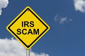 image of irs  - IRS Scam Warning Sign Yellow warning road sign with word IRS Scam with sky background - JPG