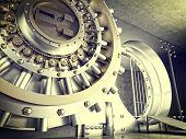 stock photo of vault  - 3d image of huge vault door - JPG