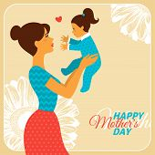 picture of happy day  - Mother and Daughter with Happy Mothers Day Congratulation Text - JPG