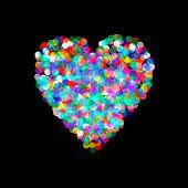 foto of confetti  - Vector heart shaped confetti falling down - JPG