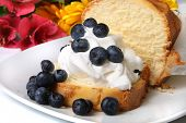 pic of pound cake  - Slice of pound cake with whipped cream topped with blueberries and flowers in the background - JPG