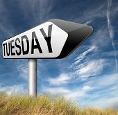 image of tuesday  - tuesday road sign event calendar or meeting schedule reminder  - JPG