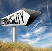 stock photo of sustainable development  - sustainability road sign arrow - JPG