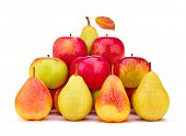 stock photo of pyramid  - Pears and apples organic fresh red green yellow with leaf - JPG