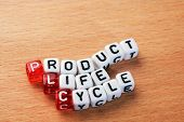 picture of plc  - cubes with text PLC Product Life Cycle on wood - JPG