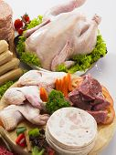 pic of raw chicken sausage  - chicken wing and other meat - JPG