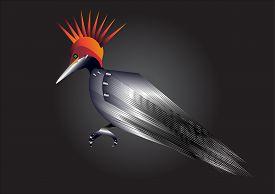foto of woodpecker  - Metal woodpecker waiting a mission - JPG