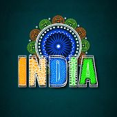 foto of ashoka  - Stylish text India in national flag colors with beautiful floral design decorated Ashoka Wheel for Indian Independence Day celebration - JPG
