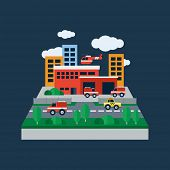 picture of fire-station  - Concept illustration with icons of fire station and fire fighting equipment - JPG