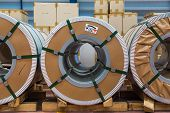 pic of coil  - Cold rolled steel or silicon steel coils in storage area in warehouse - JPG