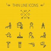image of hammer drill  - Construction thin line icon set for web and mobile - JPG