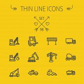 image of transportation icons  - Construction thin line icon set for web and mobile - JPG