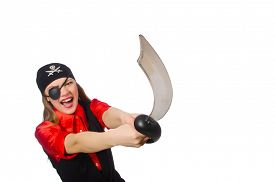 pic of pirate sword  - Pretty pirate girl holding sword isolated on white - JPG