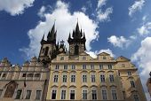 Prague, Czech republic - Old town square with its well known Tynsky church poster