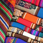 Colorful Fabric at Pisac market in Peru