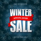 Winter Sale Badge, Label, Promo Banner Template. Special Sale Offer Text On Ribbon. Limited Time Onl poster