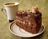 slice of chocolate cake on plate and cup