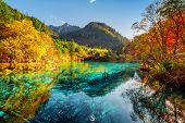 Beautiful View Of The Five Flower Lake With Azure Water poster