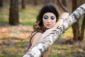 pic of birchwood  - beautiful girl in a birchwood - JPG