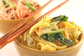 picture of thai food  - Bowls of fried noodles on a white background - JPG