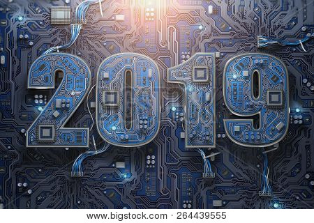 poster of 2019 on circuit board or motherboard with cpu. Computer technology and internet commucations digital