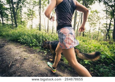 Trail Running Athletic Woman In