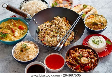 Chinese food set Chinese noodles