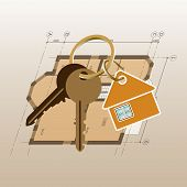 Drawing Plan Of A Private House. Key Chain With Keys. Keyring With Keys On A House Plan Background.  poster
