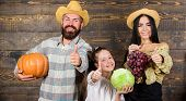 Family Rustic Style Farmers Market With Fall Harvest. Harvest Festival Concept. Family Farmers With  poster