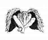Fallen Angel With Black Wings Sitting On The Floor. Mystic Dark Fantasy. Ink Hand Drawn Vector Illus poster