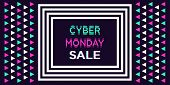 Cyber Monday Sale, Banner. Vector Illustration Of Cyber Monday Billboard With Border Of Concentric R poster
