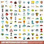 100 Meteorology Icons Set In Flat Style For Any Design Illustration poster