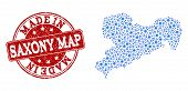 Map Of Saxony Map Vector Mosaic And Made In Grunge Stamp. Map Of Saxony Map Designed With Blue Cog C poster