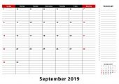 September 2019 Monthly Desk Pad Calendar Week Starts From Sunday, Size A3. September 2019 Calendar P poster