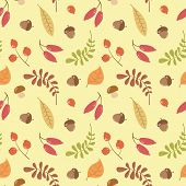 Vector Seamless Autumn Pattern With Leaves, Acorns And Berries On A Yellow Background. Hand Drawn Ve poster
