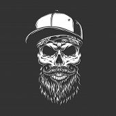 Vintage Monochrome Bearded And Mustached Skull In Baseball Cap And Bandana Isolated Vector Illustrat poster