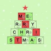 Christmas Tree Decorated Elements Periodic Table, Scientific Theme, Chemistry - New Year Card On Lig poster