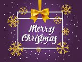 Merry Christmas  Lettering Card On Purple Background With Christmas Gift And Gold Glitter Texture Wi poster