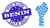 Map Of Benin Vector Mosaic And Pure Water Grunge Stamp. Map Of Benin Designed With Blue Aqua Tears.  poster