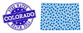 Map Of Colorado State Vector Mosaic And Pure Water Grunge Stamp. Map Of Colorado State Formed With B poster