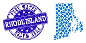Map Of Rhode Island State Vector Mosaic And Pure Water Grunge Stamp. Map Of Rhode Island State Compo poster