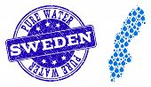 Map Of Sweden Vector Mosaic And Pure Water Grunge Stamp. Map Of Sweden Created With Blue Water Drops poster