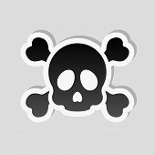 Skull And Crossed Bones. Simple Icon. Sticker Style With White Border And Simple Shadow On Gray Back poster