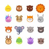 Animals Manga Smiles. Cute Kawaii Baby Animal Emoticons. Unicorn Dragon, Elephant Tiger, Lion And Ow poster
