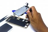 Hand man repair smartphone with tools, isolate, smartphone damage need to repair poster